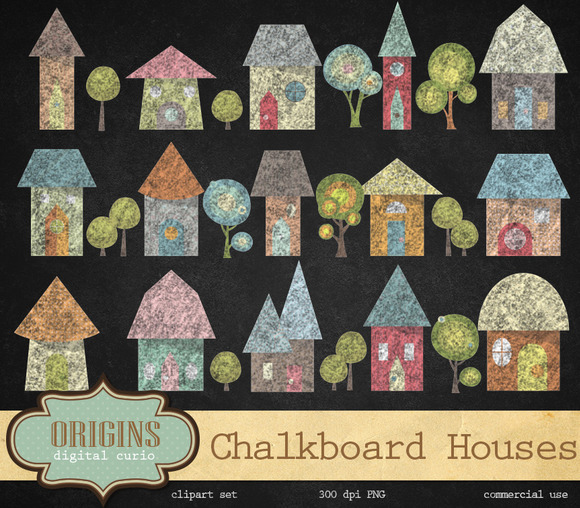 Chalkboard Houses Clipart