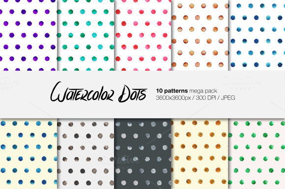 Watercolor Dots Patterns Pack
