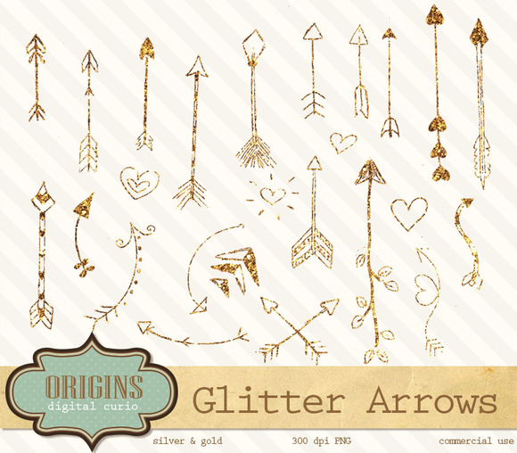Gold Silver Glitter Arrow Clipart