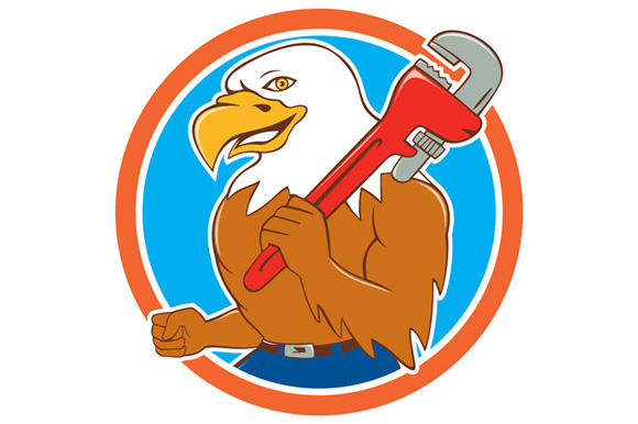 Bald Eagle Plumber Monkey Wrench Cir