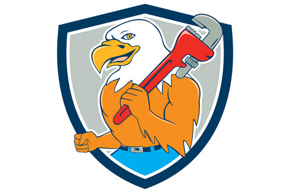 Bald Eagle Plumber Monkey Wrench Shi
