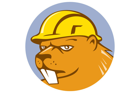 Beaver Construction Worker Circle Ca