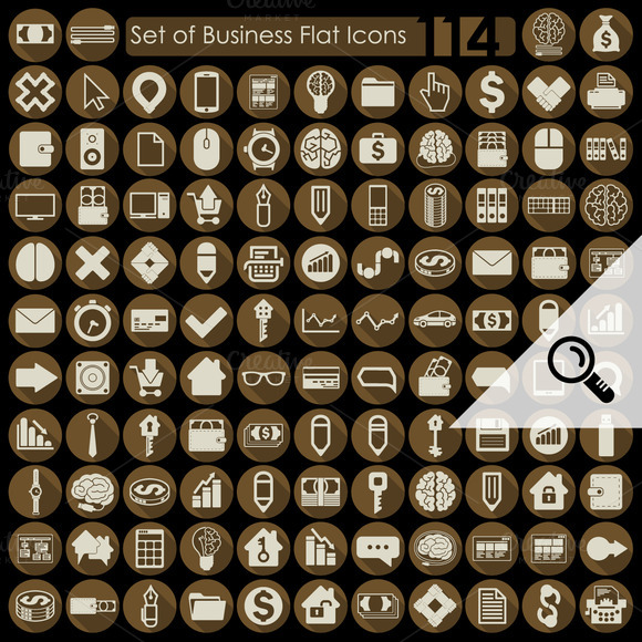 114 BUSINESS Flat Icons