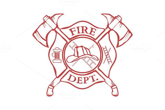 Fire Dept Label Helmet With Axes
