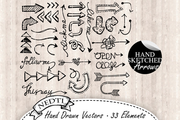 Arrows Hand Drawn Vector 33 Elements