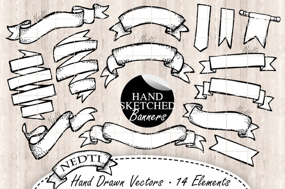 Banner Hand Drawn Vector 14 Elements