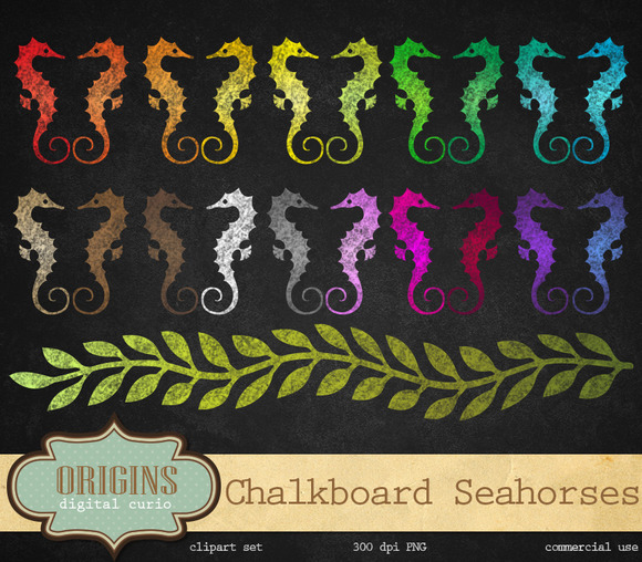 Chalkboard Seahorses Clipart