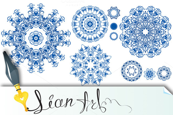 Set Of Blue Floral Circle Patterns