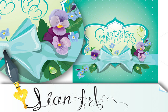 Holiday Card.Colorful Flowers Frame