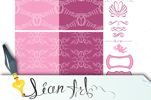 Set Of Wedding Seamless Patterns