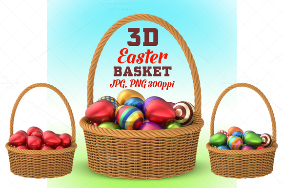 Wicker Basket With Easter Eggs 3D