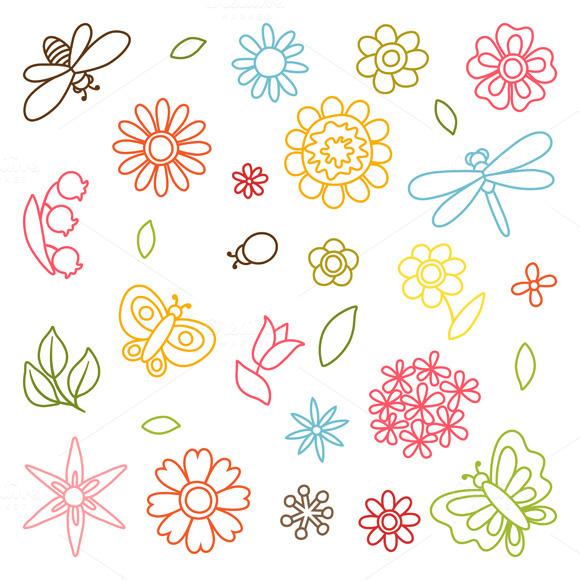 Set Of Flowers Beetles Butterflies