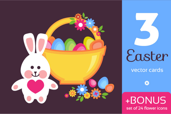 Easter Cards Flower Icons Set