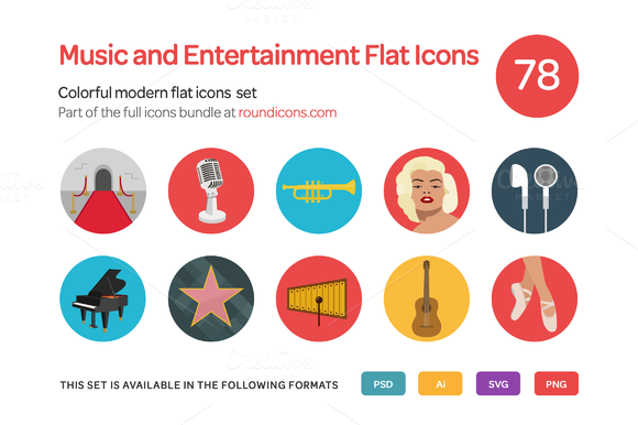 Music And Entertainment Flat Icons