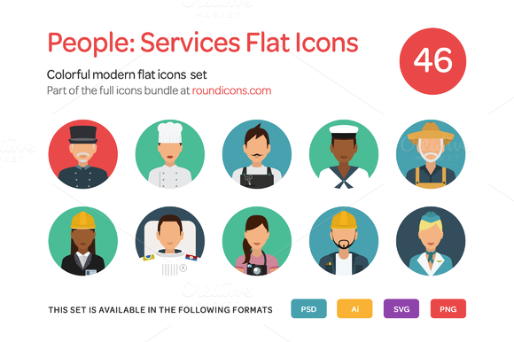 People Service Flat Icons Set