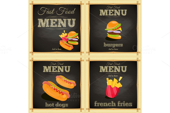 Fast Food Chalkboard Set