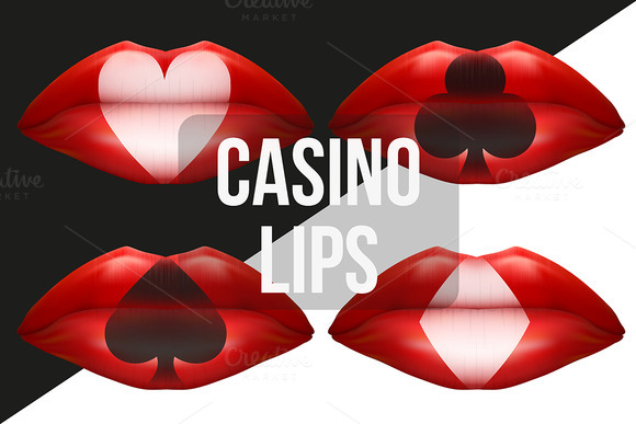 Lips With Playing Cards Symbols