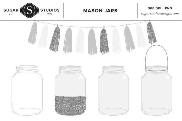 Mason Jars With Silver Tassels