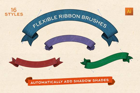 Flexible Vintage Ribbon Brushes