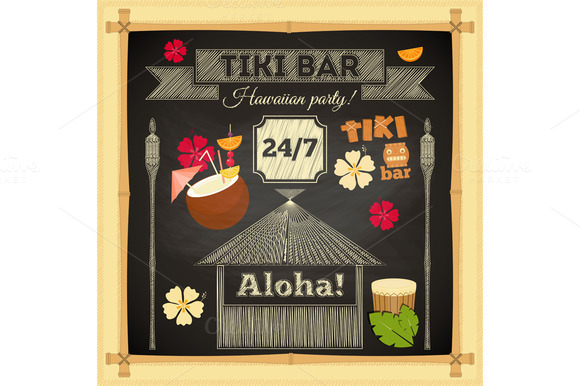 Tiki Bar Hawaii Chalkboard