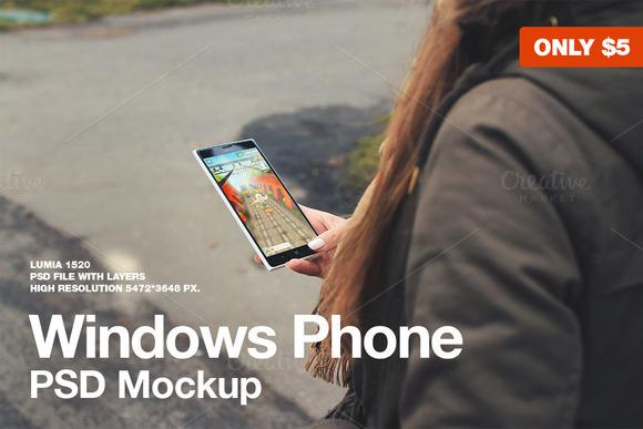 Windows Phone Lumia 1520 Mockup