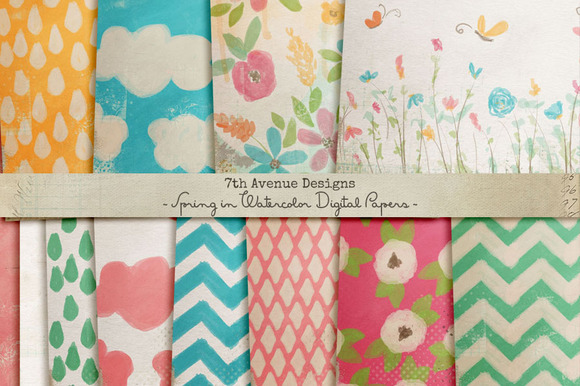 Spring In Watercolor Digital Papers