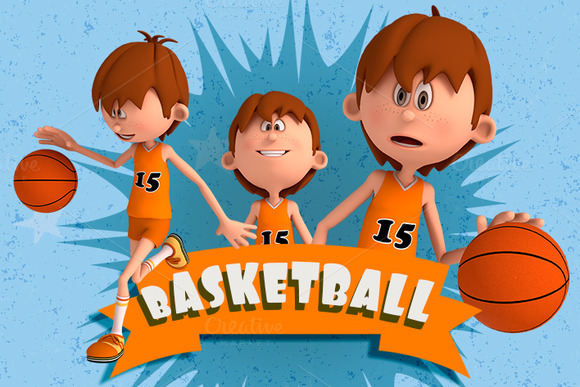 3D Basketball Cartoon Character