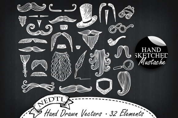 Mustache Hand Drawn Vector Clipart