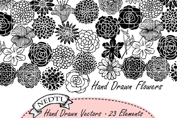 Flourish Flowers Hand Drawn Vectors