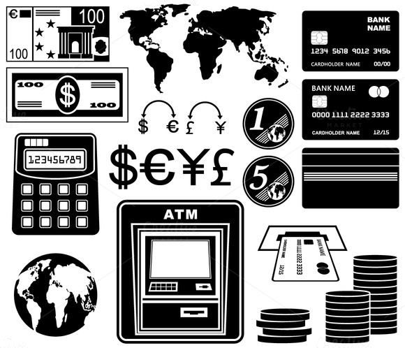 Financial Bank Set Of Icons