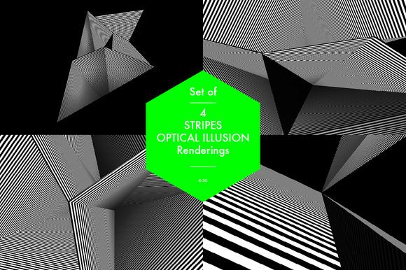 Set Of 4 Stripes Optical Illusions