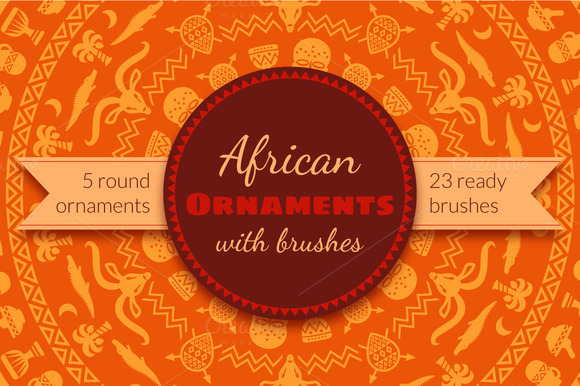 African Tribal Ornaments Brushes