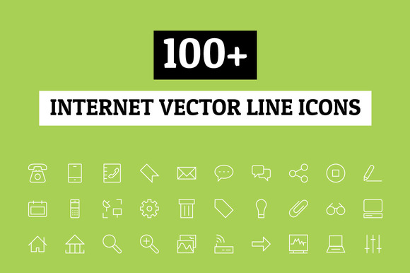 100 Internet Vector Line Icons