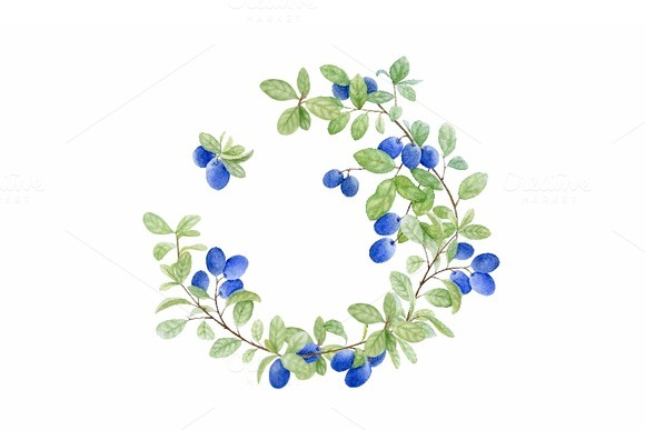 Blueberry Wreath Watercolor