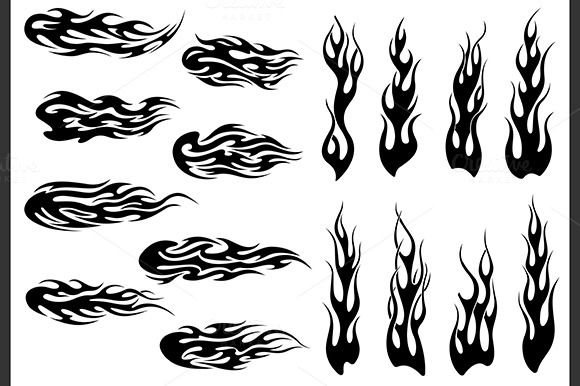 Tribal Black Fire Flames Tattoos
