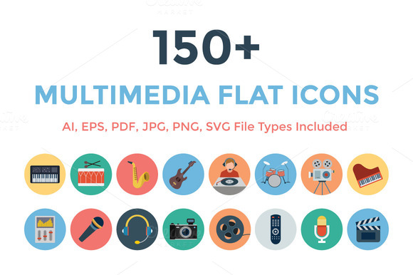 150 Multimedia Flat Icons