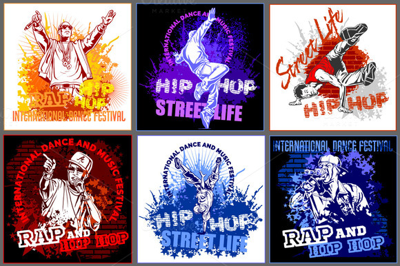 6 Hip Hop Designs 8 Illustrations