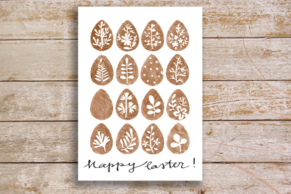 Watercolor Easter Eggs Card Clipart