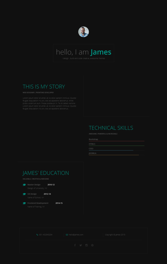 Responsive Resume CV One Page