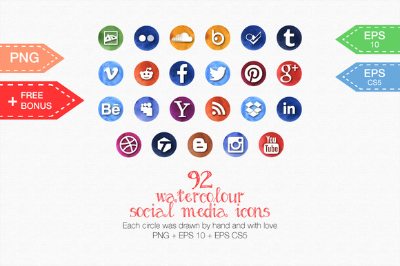 92 Watercolor Social Media Icons