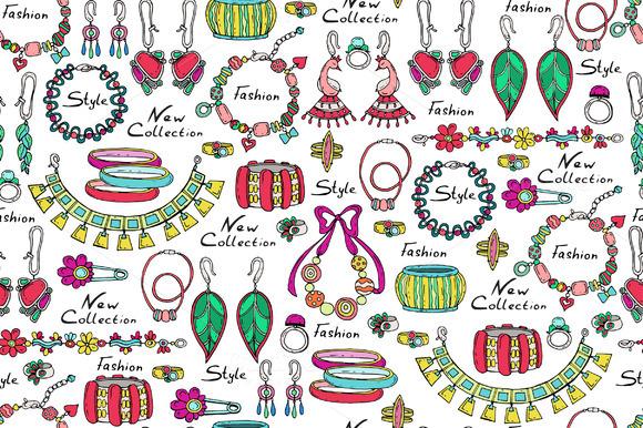 Pattern With Hand Drawn Jewelry