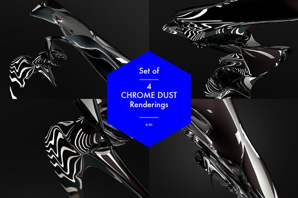 Set Of 4 Chrome Dust Renderings