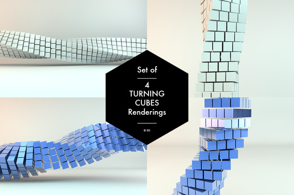 Set Of 4 Turning Cubes Sculptures