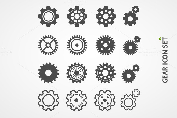 Vector Gear Icon Set Flat