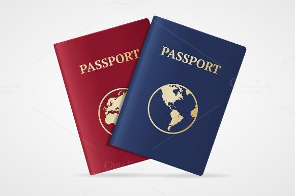 Vector Passport Set Flat