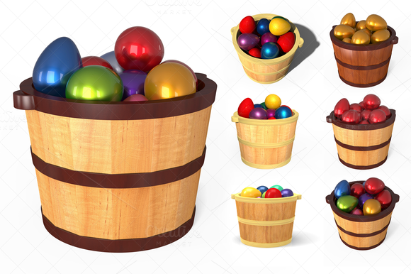 Wooden Bucket With Easter Eggs 3D