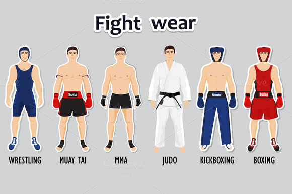 Set Of Different Style Fighters