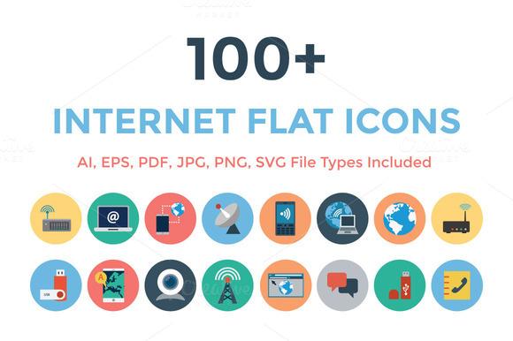 100 Internet Flat Icons