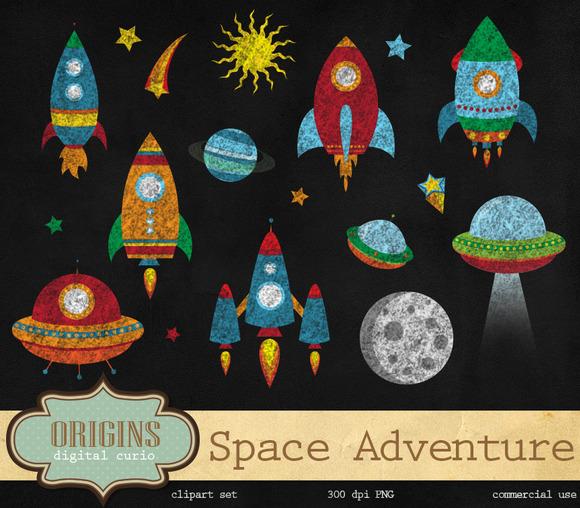 Chalkboard Rockets Space Clipart
