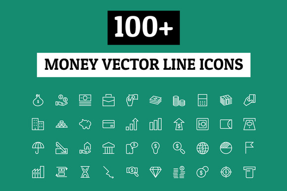 100 Money Vector Line Icons